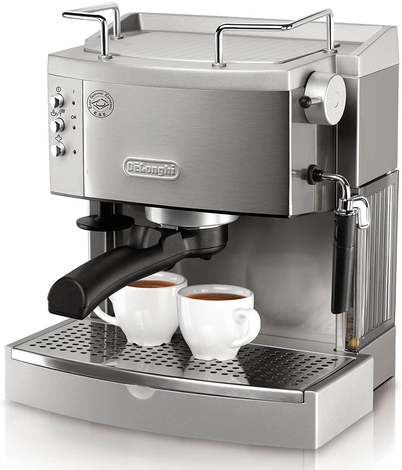 silver machine with 2 espresso cups