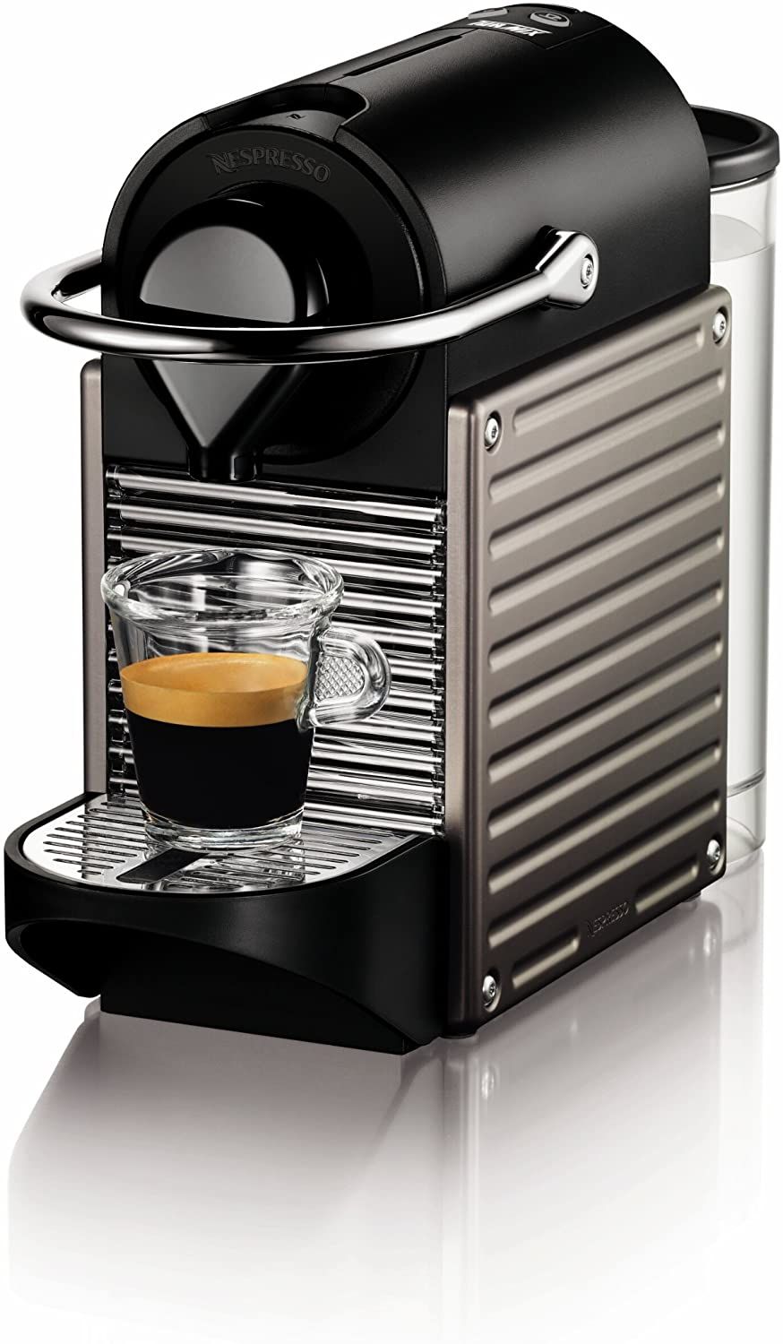 black machine with espresso shot