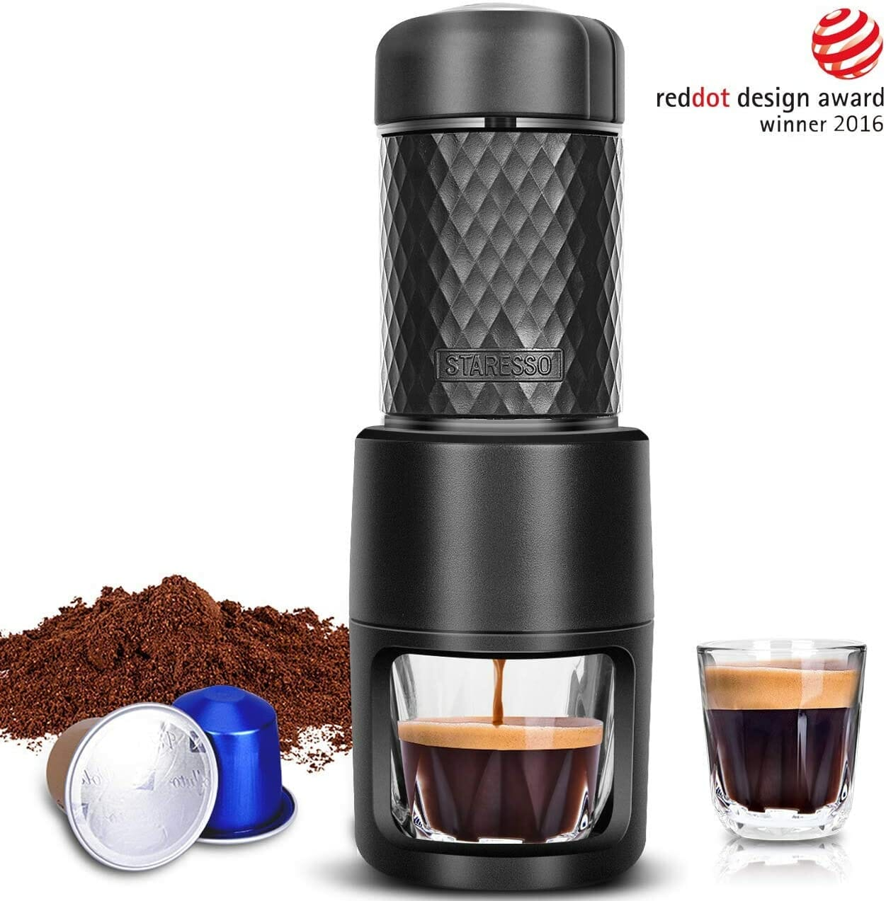 black machine with espresso & pods
